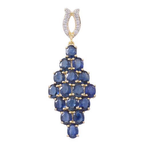 9K Yellow Gold AAA Australian Blue Sapphire (Ovl), Natural White Cambodian Zircon Pendant 4.250 Ct .