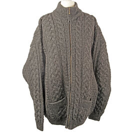 Carraig Donn 100% Worsted Wool Knitted Men Cardigan with Pocket and Zipper - Charcoal L Size