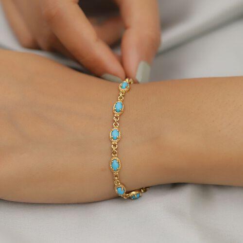 Arizona Sleeping Beauty Turquoise Braceler (Size 7.5) 14K Gold Overlay Sterling Silver 3.24 Ct, Silver wt. 9.40 Gms