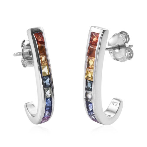 2 Carat Rainbow Sapphire Hoop Earrings in Platinum Plated Sterling Silver With Push Back