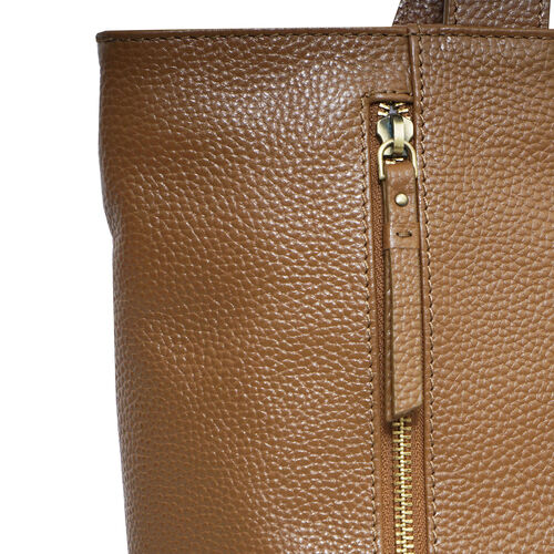 Assots London CORDER Pebble Grain Genuine Leather Tote Bag with Magnetic Closure (Size 45-33x11x32 Cm) - Tan
