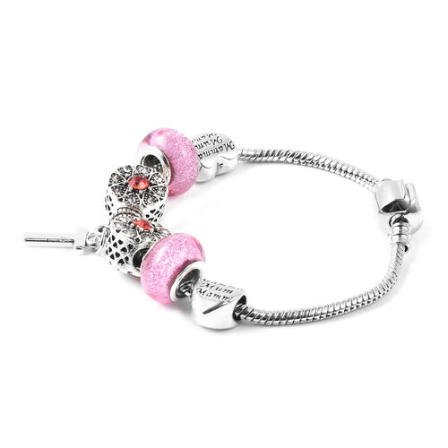 T Initial Charm Bracelet for Children in Simulated Pink Colour Bead, Red and White Austrian Crystal Size 6.5 Inch in Silver Tone