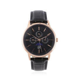 40mm Case 304 Stainless steel case Movement 6P00 multifunction Japan Movement Brand GENOA Plated IPR plating Dial black multifunction literal 12pcs nail black inner ring blue sapphire glass