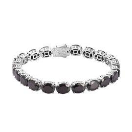 Elite Shungite Tennis Bracelet (Size 7.5) in Platinum Overlay Sterling Silver 23.30 Ct, Silver wt. 1