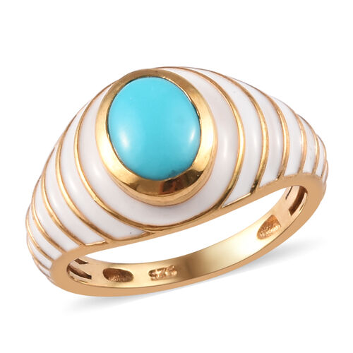 1.25 Ct Arizona Sleeping Beauty Turquoise Enamelled Solitaire Ring in Gold Plated Sterling Silver
