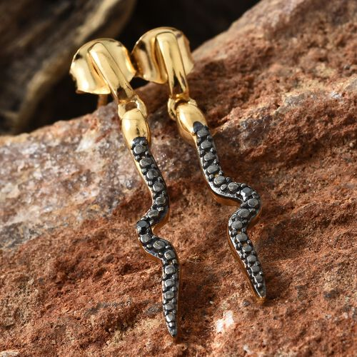 Black Diamond Snake Earrings in Rhodium and Gold Plated Silver (with Push Back)