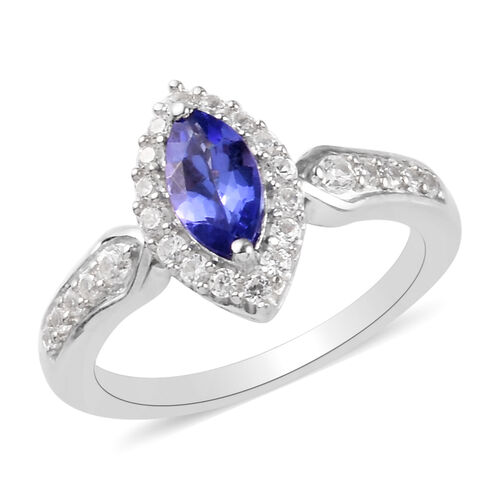 1 Ct AA Tanzanite and Cambodian Zircon Halo Ring in Platinum Plated Sterling Silver