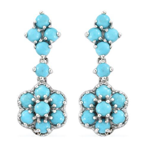 Arizona Sleeping Beauty Turquoise (Rnd) Floral Dangle Earrings (with Push Back) in Platinum Overlay