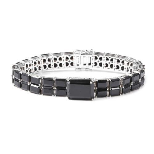 73 Carat Natural Boi Ploi Black Spinel Tennis Design Bracelet in Rhodium Plated Silver 7.5 Inch