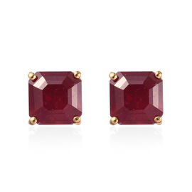 5.50 Ct African Ruby Stud Solitaire Earrings in Gold Plated Sterling Silver