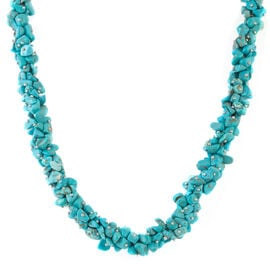 Blue Howlite Necklace (Size 20 and 2.5 inch Extender) in Silver Plated 430.000 Ct.