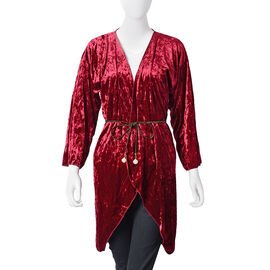 Limited Edition: Deluxe Burgundy Crushed Velvet Long Kimono with Glass Pearl Golden Belt (Free Size)