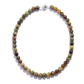 Extremely Rare AAA Mali Garnet (Rnd 10mm) Beads Necklace (Size 18) in Rhodium Overlay Sterling Silve
