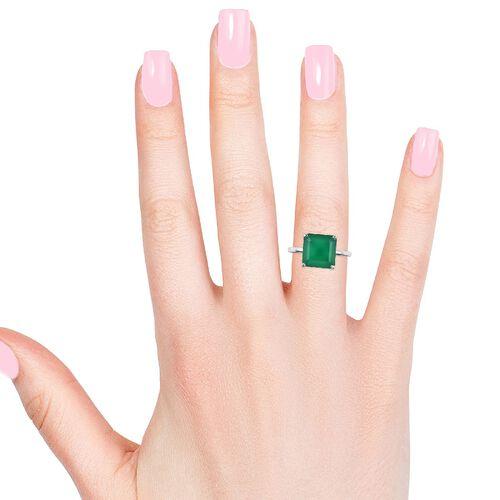 RHAPSODY 950 Platinum Verde Onyx Asscher Cut Solitaire Ring 5.00 Ct. Platinum wt 4.40  Gms