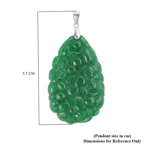 Carved Green Jade Floral Pendant in Sterling Silver 61.00 Ct.