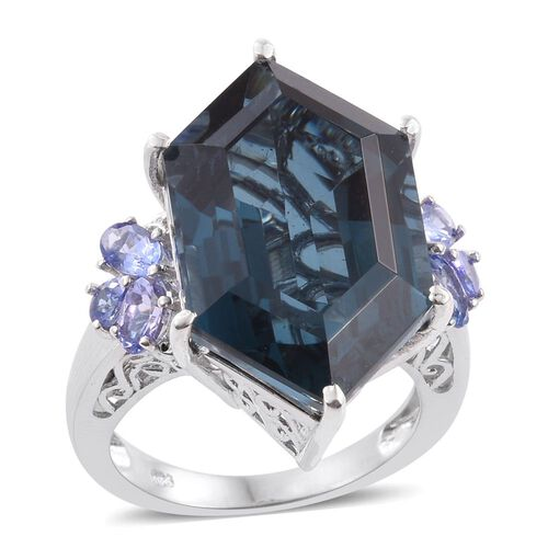 Indicolite Quartz and Tanzanite Ring in Platinum Overlay Sterling Silver 24.500 Ct.
