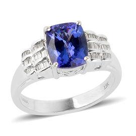 ILIANA 3.15 Ct AAA Tanzanite and Diamond Solitaire Design Ring in 18K White Gold 7.2 Grams