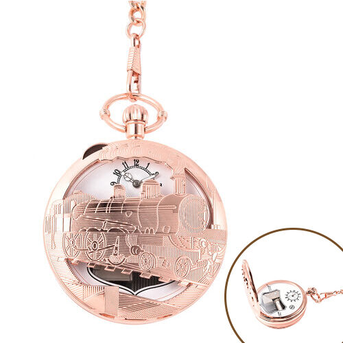 STRADA Japanese Movement Train Pattern Water Resistant Music Pocket Watch with Chain (Size 14) in Ro