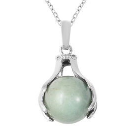 35.50 Ct Green Aventurine Solitaire Pendant with Chain in Stainless Steel