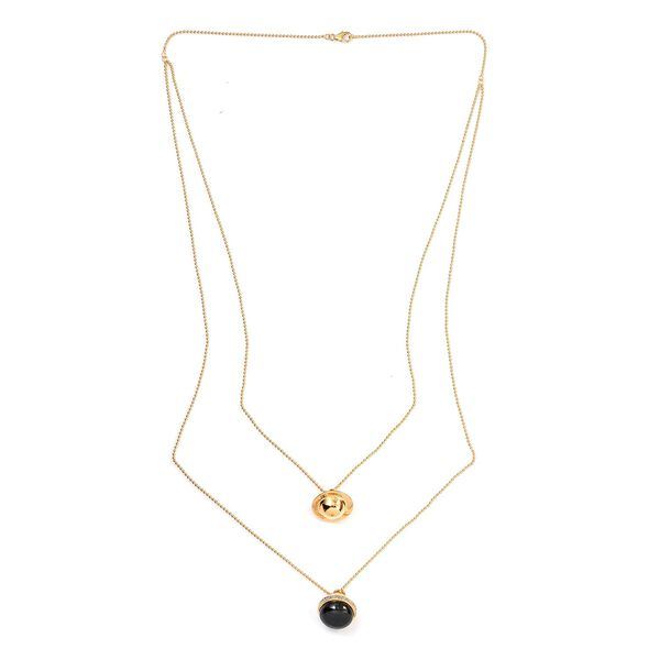 Sundays Child - Black Jade, Natural Cambodian Zircon Necklace (Size 22+30 with 4 inch Extender) in 1