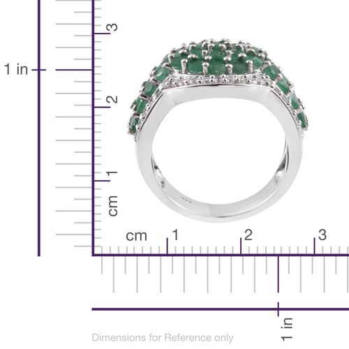 Kagem Zambian Emerald (Rnd), Natural Cambodian Zircon Ring in Platinum Overlay Sterling Silver 3.750 Ct. Silver wt. 9.55 Gms.