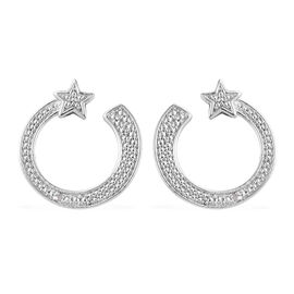 Diamond (Rnd) Shooting Star Earrings (with Push Back) in Platinum Overlay Sterling Silver