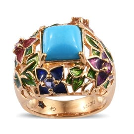 GP Arizona Sleeping Beauty, Mozambique Garnet, Rhodolite Garnet, Iolite, Citrine and Kanchanaburi Blue Sapphire Enameled Ring in 14K Gold Overlay Sterling Silver 2.500 Ct, Silver wt 6.78 Gms.