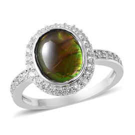 3.50 Ct Canadian Ammolite and Zircon Halo Ring in Rhodium Plated Sterling Silver