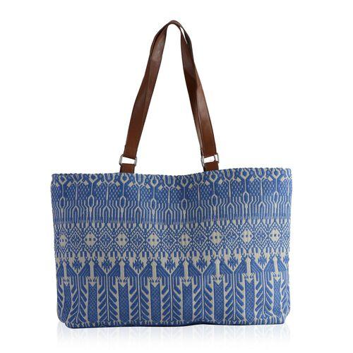 Blue, White and Multi Colour Jacquard Tote Bag (Size 45x35 Cm)