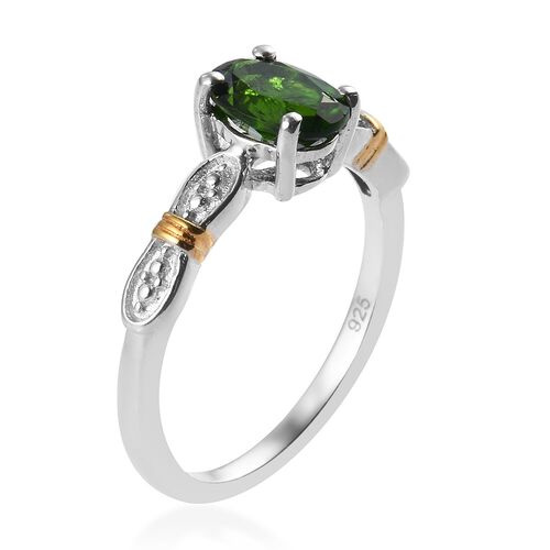 Natural Russian Diopside Ring, Earrings and Pendant in Platinum and Yellow Gold Overlay Sterling Silver 2.75 Ct