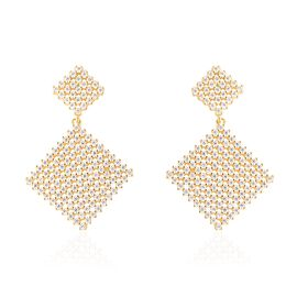 Simulated Diamond Geometrical Cluster Drop Earrings in Gold Plated with Push Back