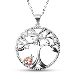 Simulated Diamond Pendant with Chain (Size 20) in Rhodium Overlay Sterling Silver 0.43 Ct.