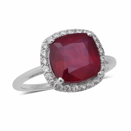9K White Gold AAA African Ruby (Cush 10x10mm), Natural Cambodian Zircon Ring 7.09 Ct.
