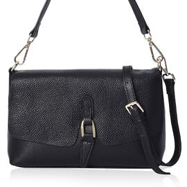 Limited Available- 100% Genuine Leather Tote Bag with Detachable Strap (Size 26x17x9 Cm) - Black