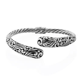 Royal Bali Handmade Sterling Silver Hinged Bangle, Silver wt. 22.51 Grams