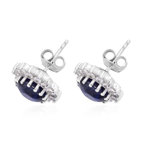 Premium Collection - Designer Inspired Rare Size Masoala Sapphire (Rnd), Natural White Cambodian Zircon Stud Earrings (with Push Back) in Platinum Overlay Sterling Silver 7.750 Ct.