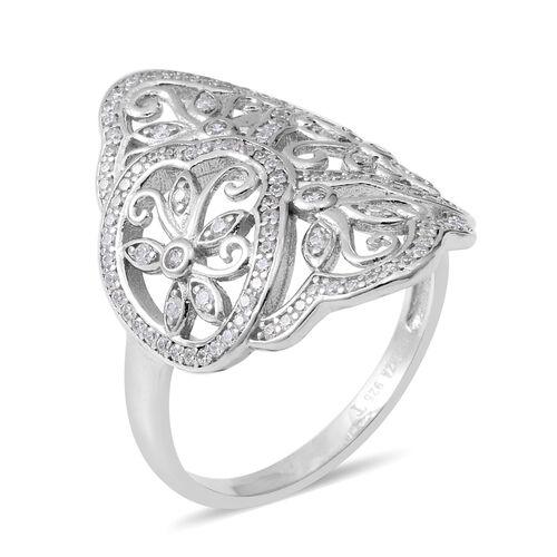 ELANZA Simulated Diamond (Rnd) Filigree Ring in Rhodium Overlay Sterling Silver