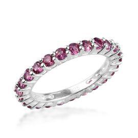 2 Carat Lotus Garnet Eternity Band Ring in Sterling Silver