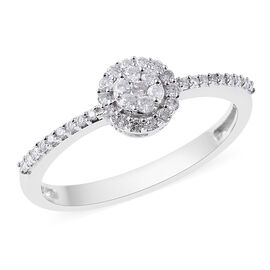 9K White Gold SGL Certified Diamond (I3/G-H) Cluster Ring 0.25 Ct.