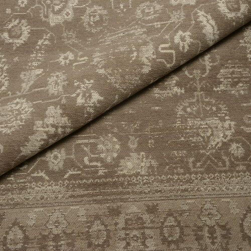 Premium Jacquard Woven Cotton Chenille Area Rug with Floral Design in Beige and Light Grey Colour (Size 200x140 Cm)