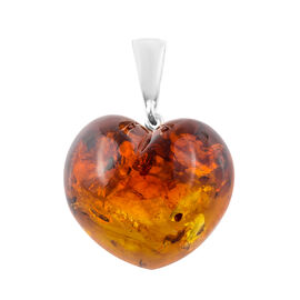 Baltic Amber (Hrt) Heart Pendant in Sterling Silver