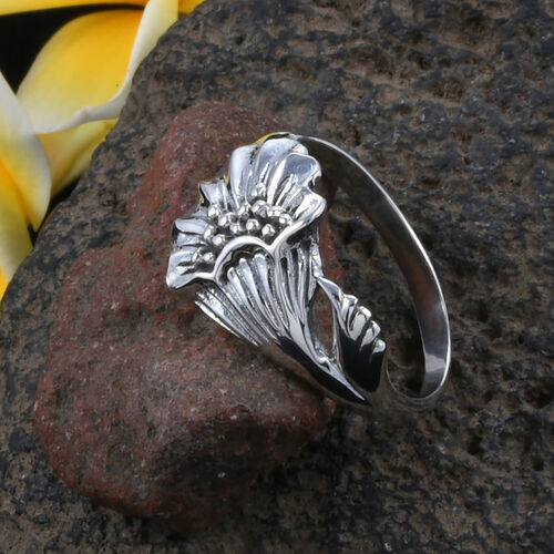 Royal Bali Collection Sterling Silver Floral Ring