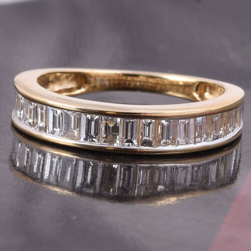 ILIANA 18K Yellow Gold IGI Certified Natural Diamond (SI/G-H) Eternity Band Ring 1.00 Ct.
