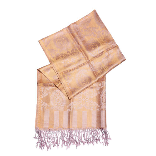 SILK MARK - 100% Superfine Silk Golden and Blush Pink Colour Paisley and Leaves Pattern Jacquard Jamawar Scarf with Fringes (Size 180x70 Cm) (Weight 125-140 Grams)