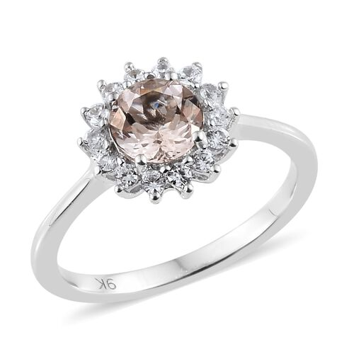 Moroppino Morganite (0.75 Ct),Cambodian Zircon 9K W Gold Ring  1.000  Ct.