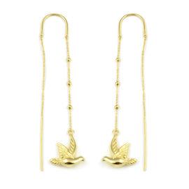 JCK Vegas Collection Flying Bird Slider Earrings in 9K Yellow Gold