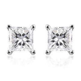 RHAPSODY 950 Platinum IGI Certified Diamond (Sqr) (VS/E-F) Stud Earrings (with Screw Back) 0.250 Ct.