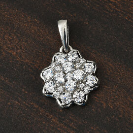 J Francis Platinum Overlay Sterling Silver Pendant Made with SWAROVSKI ZIRCONIA 2.48 Ct.
