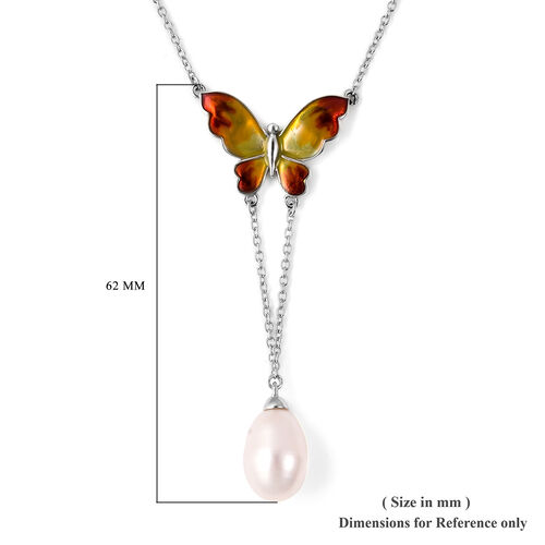 GP - Freshwater Pearl and Blue Sapphire Enamelled Butterfly Lariat Necklace (Size 20) in Rhodium Overlay Sterling Silver