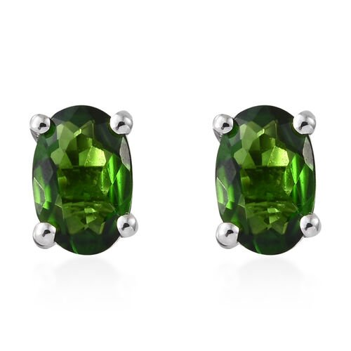 9K White Gold AAA Russian Diopside (Ovl) Stud Earrings (with Push Back) 1.000 Ct.